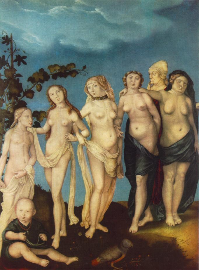 """Hans BALDUNG GRIEN, """"Les sept âges de la femme"""", détail, Museum der Bildenden Künste, Leipzig (source : WGA)."""